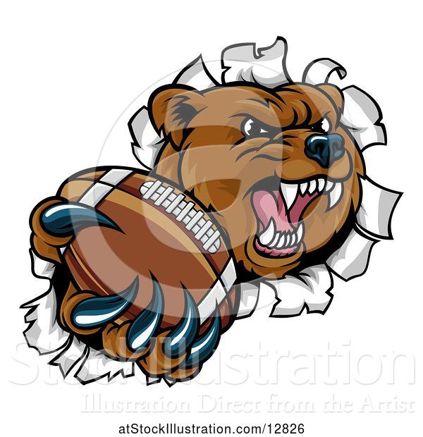 Vector Illustration of Bear Sports Mascot Breaking Through a Wall with an American Football in a Paw