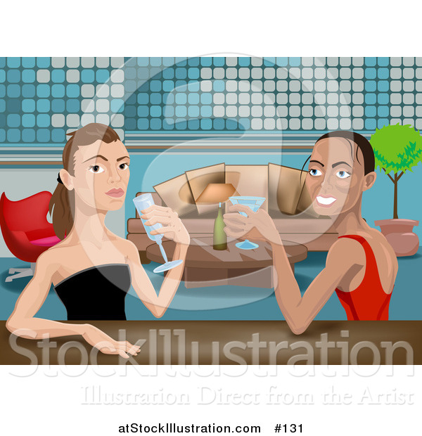 Vector Illustration of Beautiful Friends, or a Lesbian Couple, Drinking Cocktails at an Upscale Bar