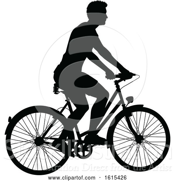 Vector Illustration of Bicycle Riding Bike Cyclist Silhouettes