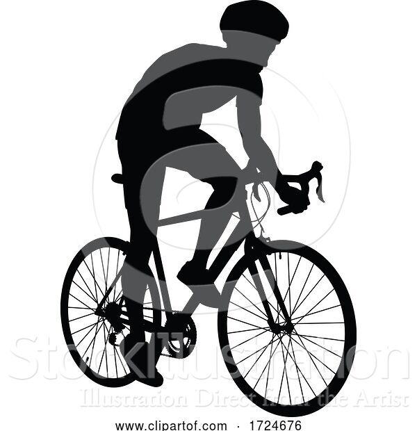 Vector Illustration of Bike and Bicyclist Silhouette