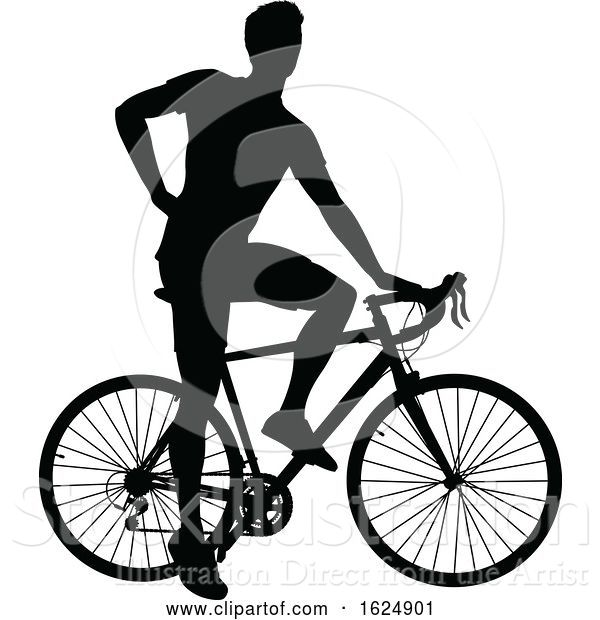 Vector Illustration of Bike Cyclist Riding Bicycle Silhouette