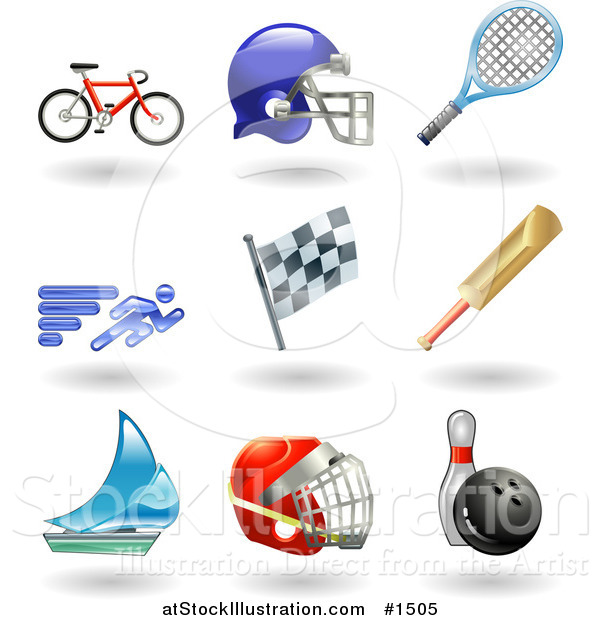 Vector Illustration of Bike, Helmet, Tennis Racket, Runner, Racing Flag, Cricket Bat, Sailboat, Hockey Helmet and Bowling Ball with Pin