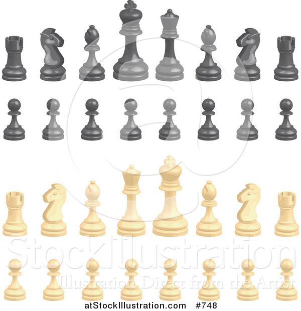 Vector Illustration of Black and Ivory Chess Pieces
