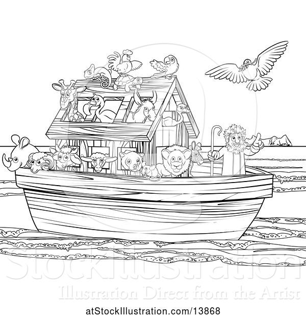 Vector Illustration of Black and White Biblical Scene of Noah on His Ark with the White Dove Returning with the Olive Branch