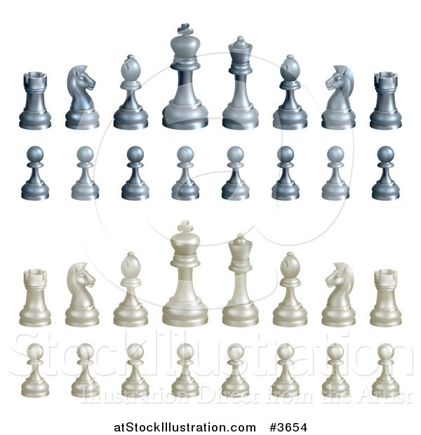 Vector Illustration of Black and White Chess Pieces