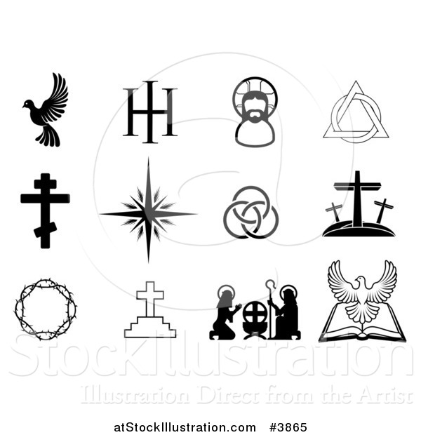 Vector Illustration of Black and White Christian Icons