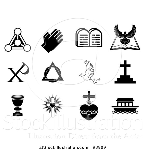 Vector Illustration of Black and White Christian Symbols