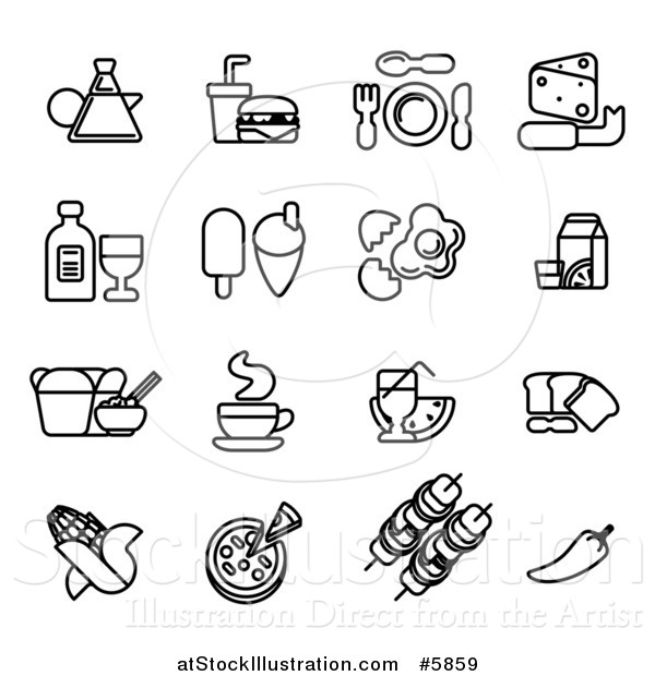 Vector Illustration of Black and White Coffee and Food Icons