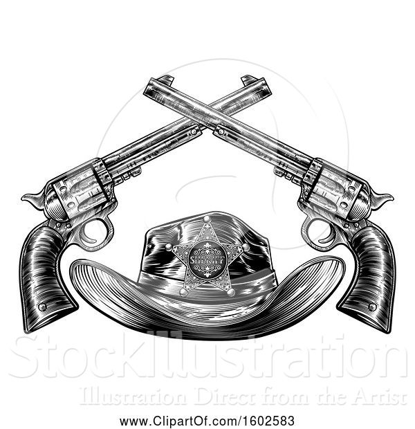 Vector Illustration of Black and White Cowboy Sheriff Hat with Crossed Guns