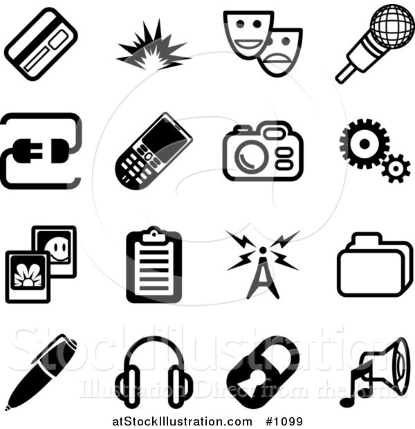 Vector Illustration of Black and White Credit Card, Masks, Microphone, Connection, Cellphone, Camera, Cogs, Pictures, Clipboard, Communications Tower, Files, Pen, Headphones, Padlock and Speaker Icons on a White Background