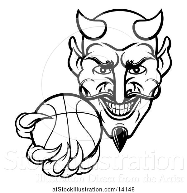 Vector Illustration of Black and White Grinning Evil Devil Holding out a Basketball in a Clawed Hand