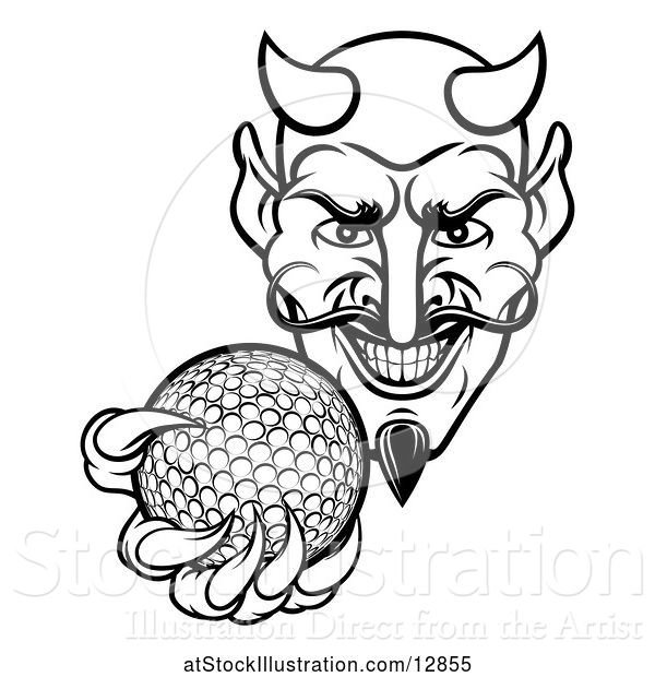 Vector Illustration of Black and White Grinning Evil Devil Holding out a Golf Ball in a Clawed Hand