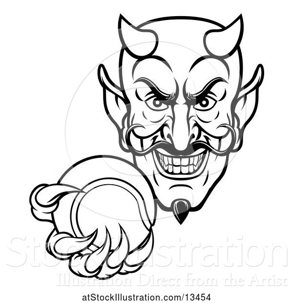 Vector Illustration of Black and White Grinning Evil Devil Holding out a Tennis Ball in a Clawed Hand