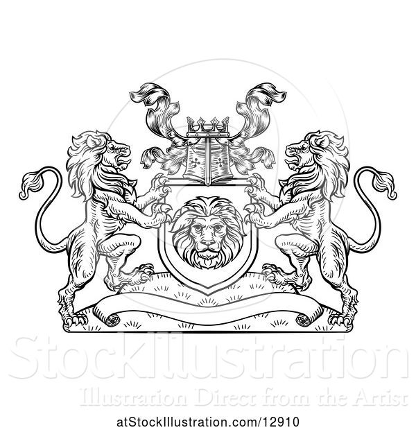Vector Illustration of Black and White Heraldic Lions Coat of Arms Crest with a Knights Great Helm Helmet
