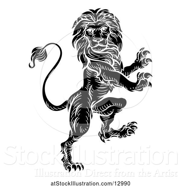 Vector Illustration of Black and White Heraldic Rampant Lion