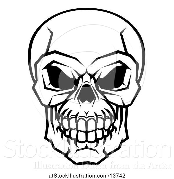 Vector Illustration of Black and White Human Skull