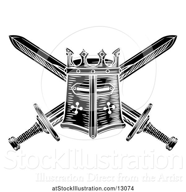 Vector Illustration of Black and White Knights Great Helm and Crossed Swords