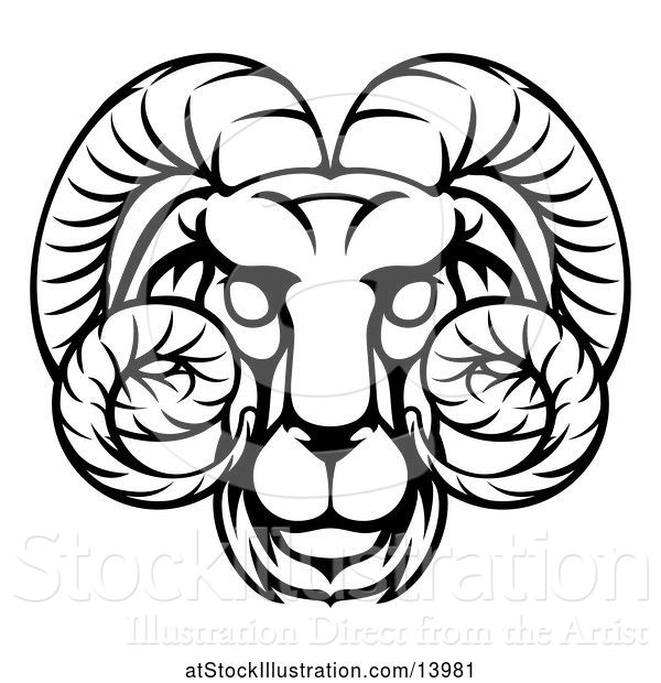 Vector Illustration of Black and White Lineart Aries Ram Astrology Zodiac Horoscope