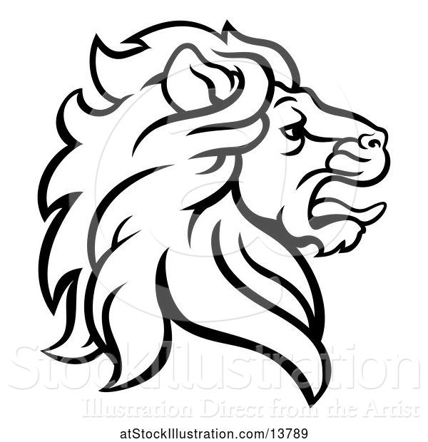 Vector Illustration of Black and White Male Lion Coat of Arms Head