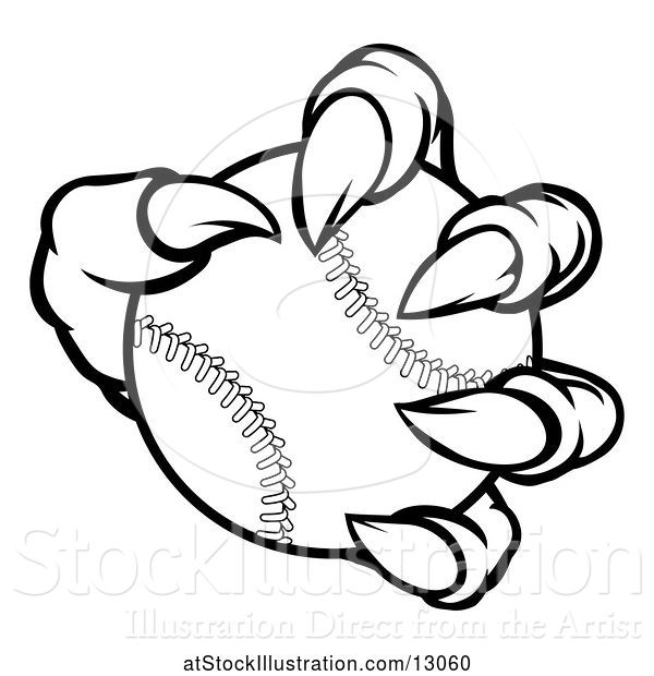 Vector Illustration of Black and White Monster Claw Holding a Baseball