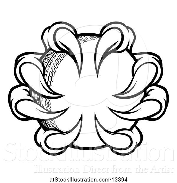 Vector Illustration of Black and White Monster or Eagle Claws Grabbing a Cricket Ball