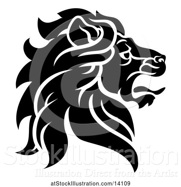 Vector Illustration of Black and White Noble Male Lion Head in Profile