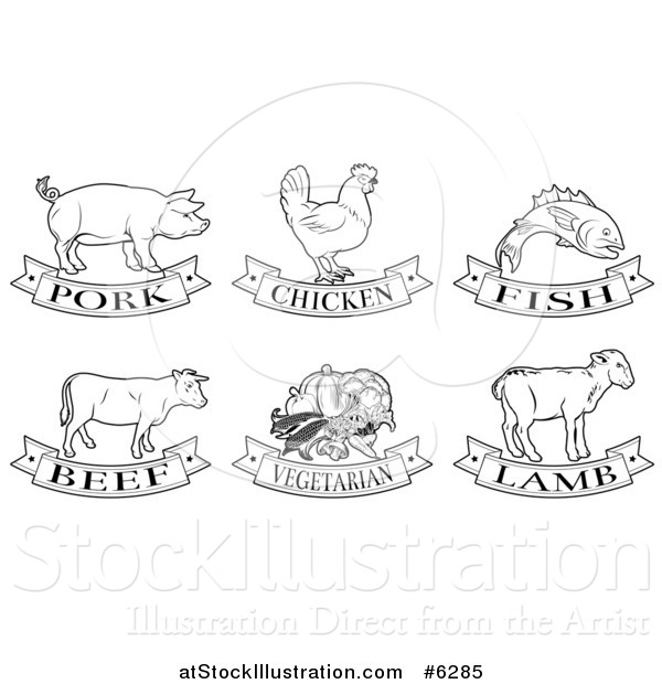 Vector Illustration of Black and White Pork, Chicken, Fish, Beef, Vegetarian and Lamb Animal and Food Designs