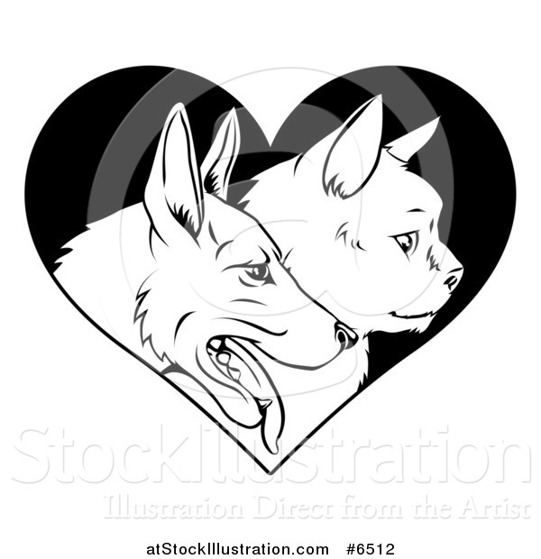 Vector Illustration of Black and White Profiled Cat and Dog Faces over a Heart