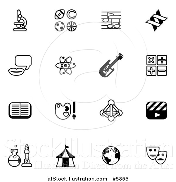 Vector Illustration of Black and White School Subject Icons