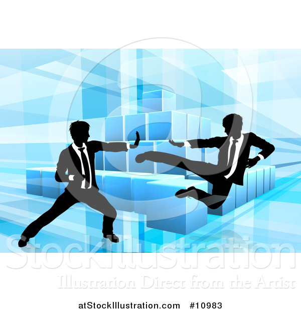 Vector Illustration of Black and White Silhouetted Business Men Fighting over Blocks on Blue