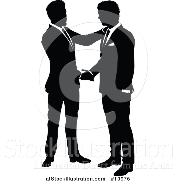 Vector Illustration of Black and White Silhouetted Business Men Shaking Hands