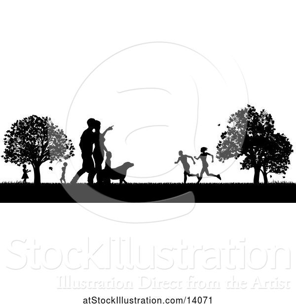 Vector Illustration of Black and White Silhouetted Park with a Dog and People, Grassy Field, and Trees
