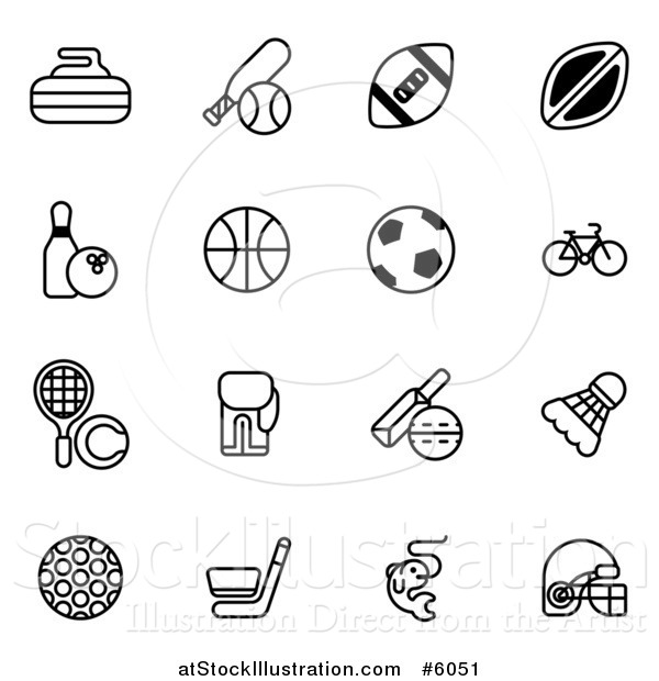 Vector Illustration of Black and White Sports Equipment Icons