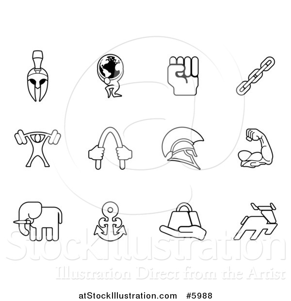 Vector Illustration of Black and White Strength Icons