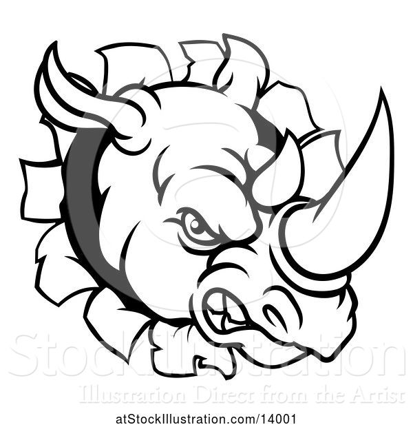 Vector Illustration of Black and White Tough Rhinoceros Sports Mascot Head Breaking Through a Wall