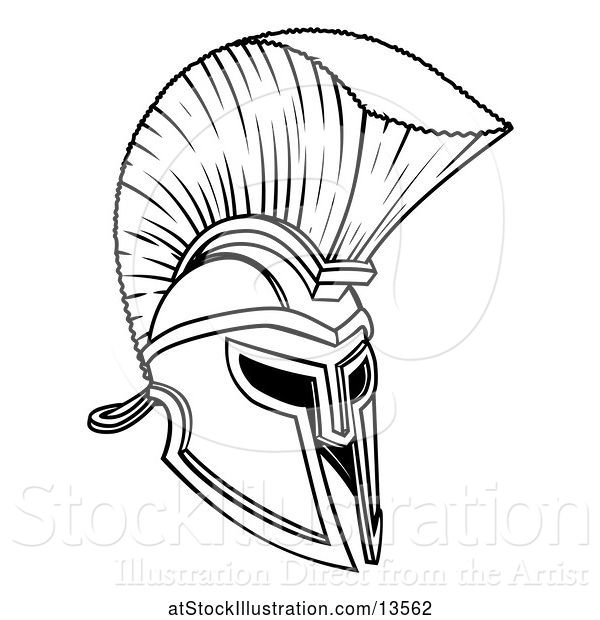 Vector Illustration of Black and White Trojan Spartan Helmet