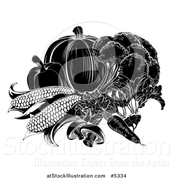 Vector Illustration of Black and White Vegetables
