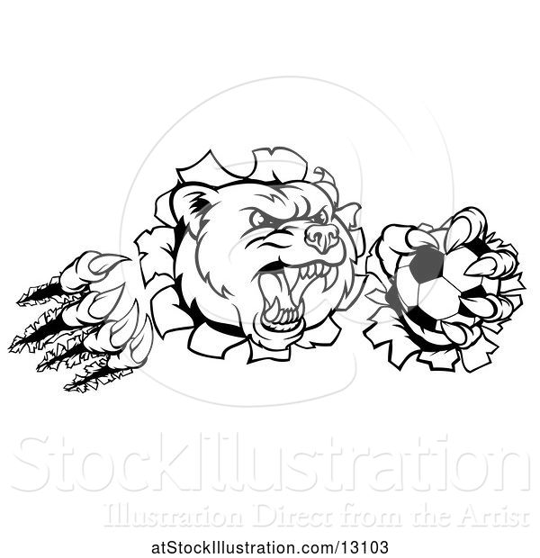 Vector Illustration of Black and White Vicious Aggressive Bear Mascot Slashing Through a Wall with a Soccer Ball in a Paw