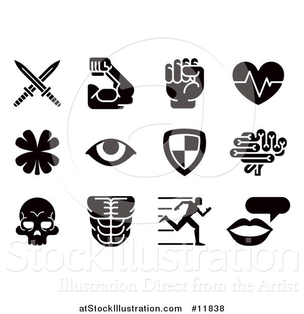 Vector Illustration of Black and White Video Game Attribute Icons