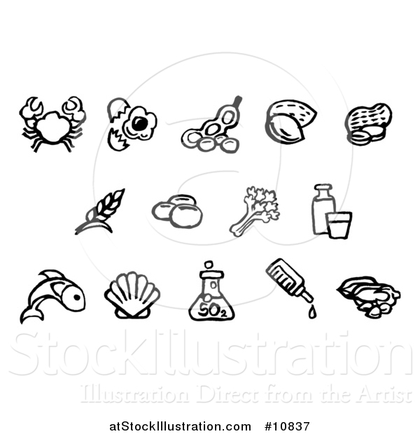Vector Illustration of Black and White Watercolor Styled Food Safety Allergy Icons