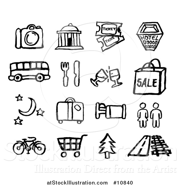 Vector Illustration of Black and White Watercolor Styled Travel Symbol Icons
