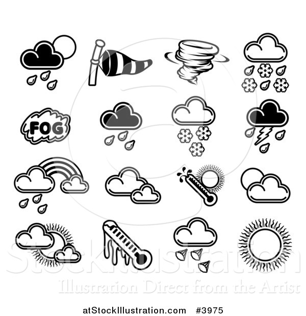 Vector Illustration of Black and White Weather Forecast Icons