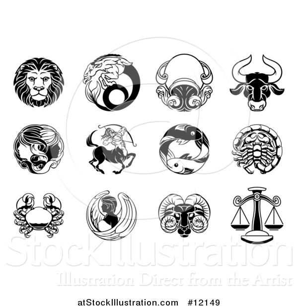 Vector Illustration of Black and White Zodiac Astrology Horoscope Star Signs