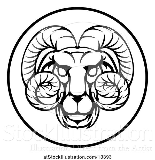 Vector Illustration of Black and White Zodiac Horoscope Astrology Aries Ram Circle Design