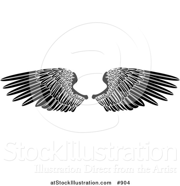 Vector Illustration of Black Angel Wings Spread Open