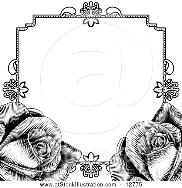 Vector Illustration of Black Border Frame with Roses