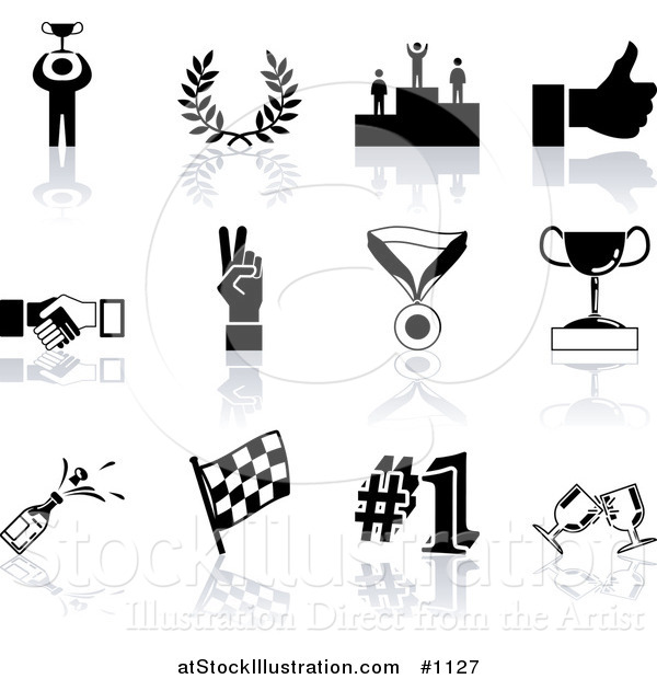 Vector Illustration of Black Champion, Laurel, Winner, Thumbs Up, Handshake, Peace Gesture, Medal, Trophy, Champagne, Flag, Number 1 and Toasting Wine Glasses Sports Icons on a White Background
