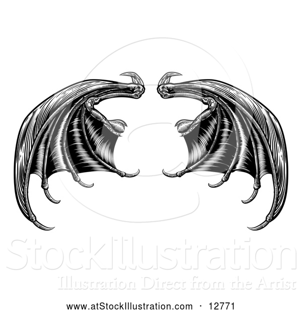 Vector Illustration of Black Dragon Wings