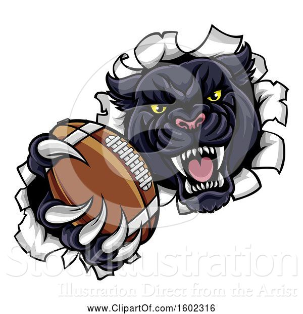 Vector Illustration of Black Panther Mascot Breaking Through a Wall with an American Football