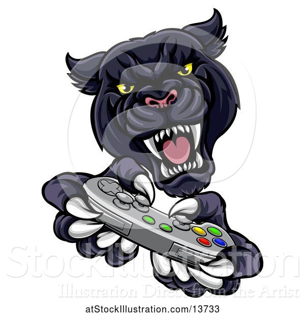 Vector Illustration of Black Panther Using a Video Game Controller